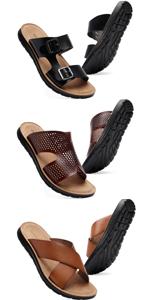 mens arizona leather sandals casual slide