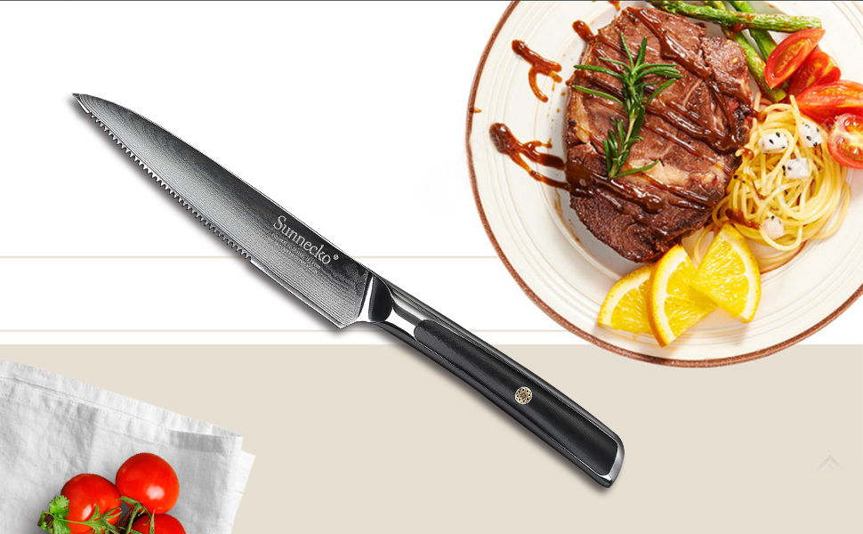 Cuchillo Bistec 5 pulgadas - Sunnecko Profesional Cuchillo de ...