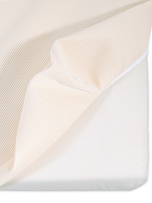 Organic Cotton Breathable Pad Pulled Up Over Corner Of Mattress