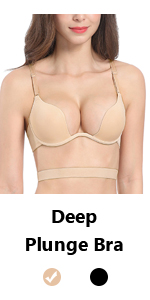 deep plunge convertible removable straps bra multiway deep V low cut sexy cleavage bra nude color