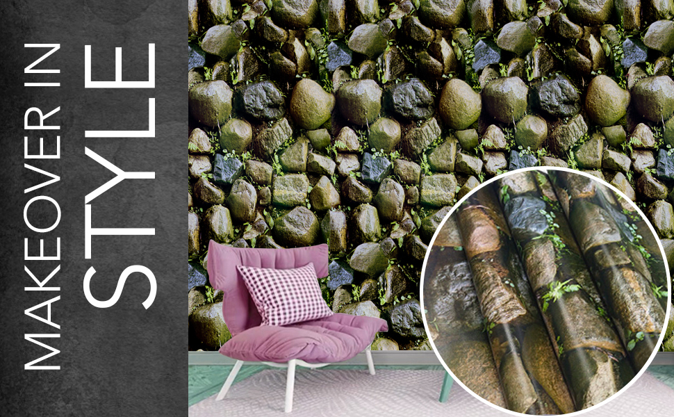 wolpin 3d stone brick nature green wallpapers for wall latest are self-adhesive, peel and stick