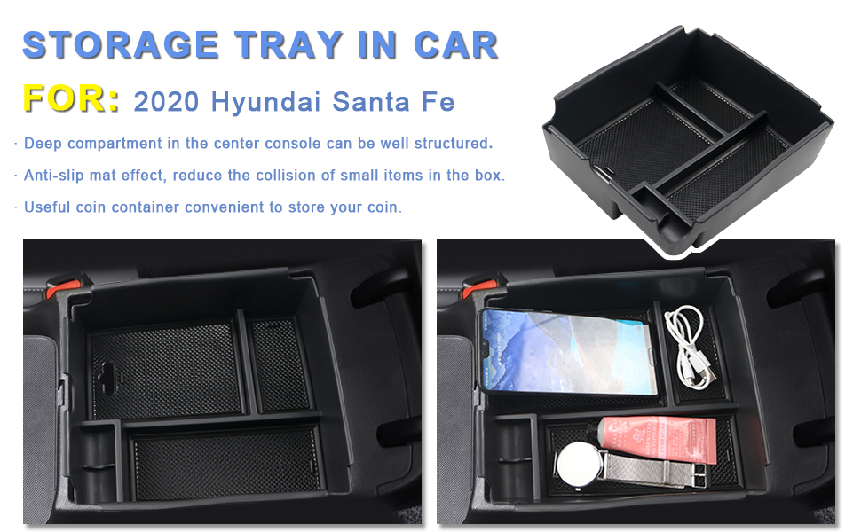 Insert ABS Black Materials Tray Armrest Box Secondary Storage Box Coin and Sunglasses Holder CDEFG Center Console Organizer Tray for 2020 Sentra