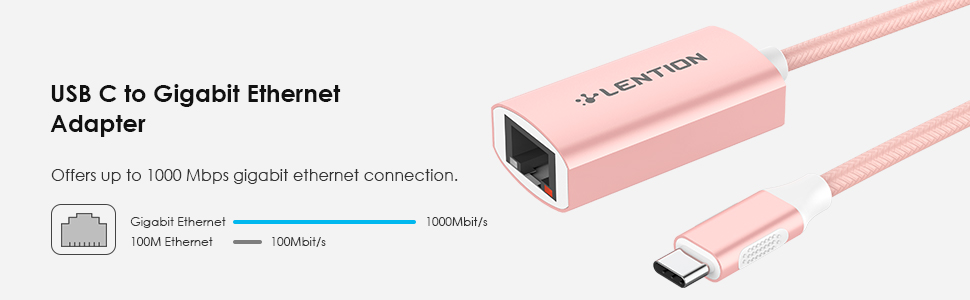 USB-C to Gigabit Ethernet Adapter up to 1000 Mbps
