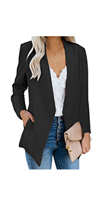 GRAPENT Women's Open Front Business Casual Pocket Work Office Blazer Jacket Suit