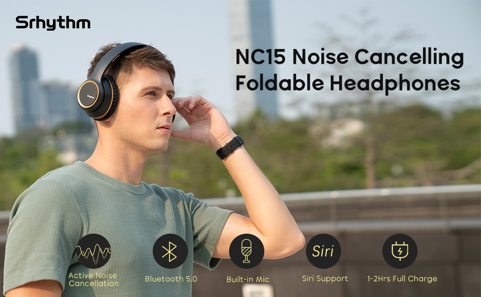 NC15 noise cancelling headphones - Noise Cancelling Headphones Wireless Bluetooth 5.0, Over-Ear Srhythm NC15 Headset With Microphones For Online Class/Home Office/TV/PC/Cell Phone-Low Latency