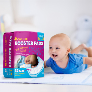 Nighttime Protection for Infant Boys /& Girls Easy Repositioning Disposable Sposie Overnight Baby Diaper Booster Pads//Doublers for Newborns to Size 3 Diapers| 32 Insert-Pads| No Adhesive