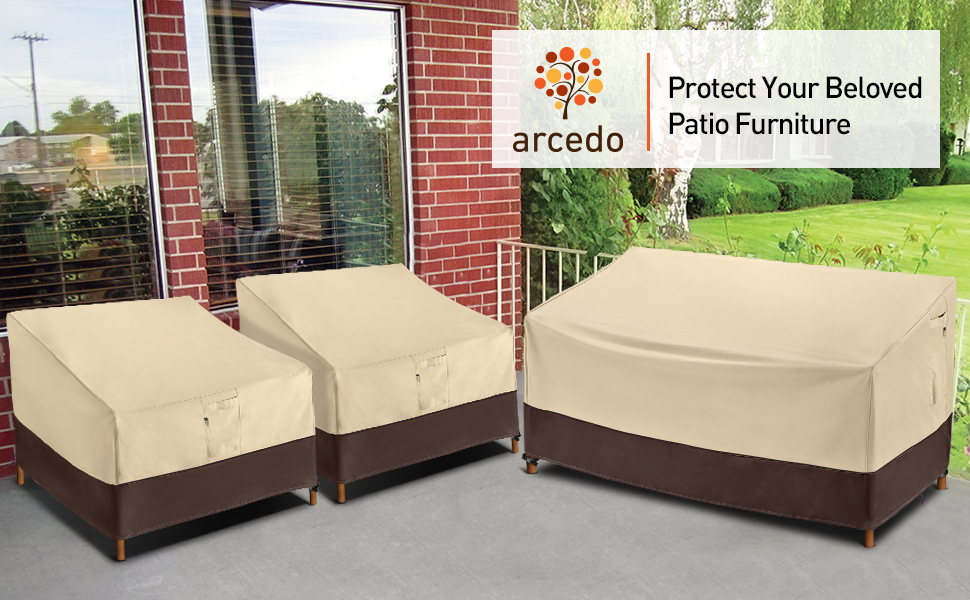 patio deep sofa cover & patio chair cover 2 pack