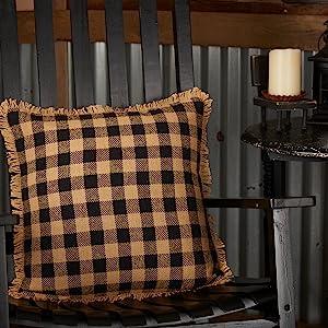 Burlap Black Check pillow primitive country rustic  VHC Brands bath lined cotton check star