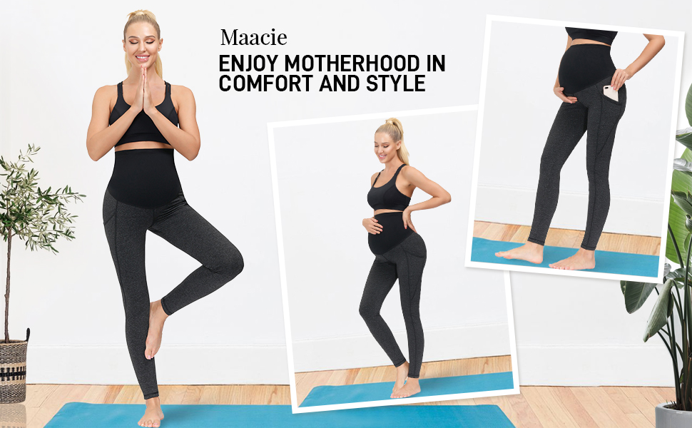 Maacie Women Maternity Yoga Pants Over The Belly Workout Running Active Athletic Legging