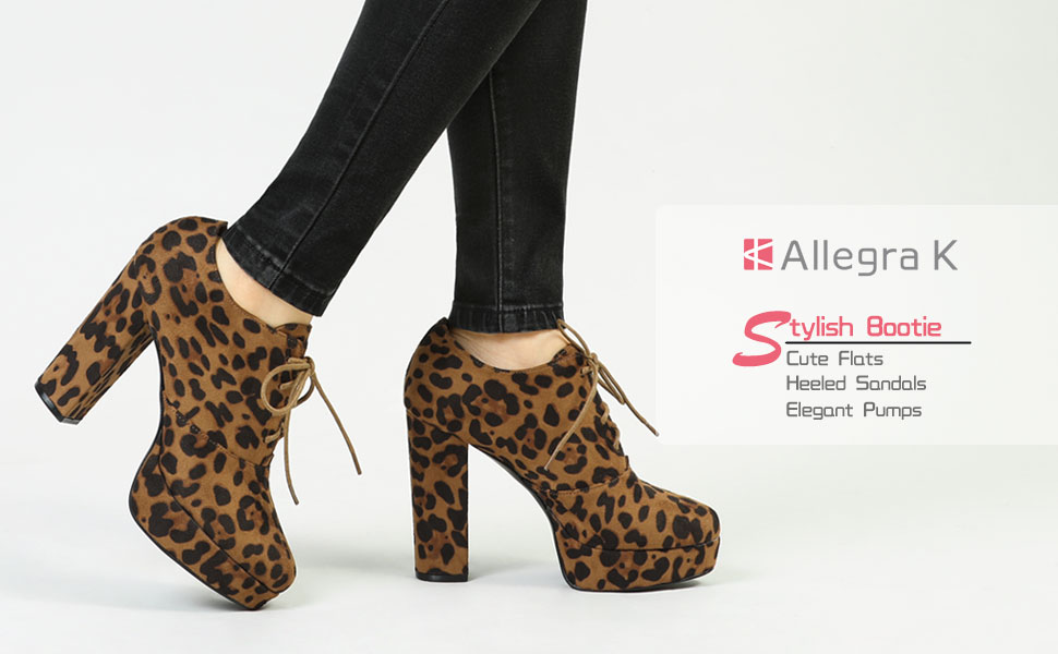 Brown Leopard Faux Suede High Chunky Heel Lace Up Platform Fashion Ankle Boot