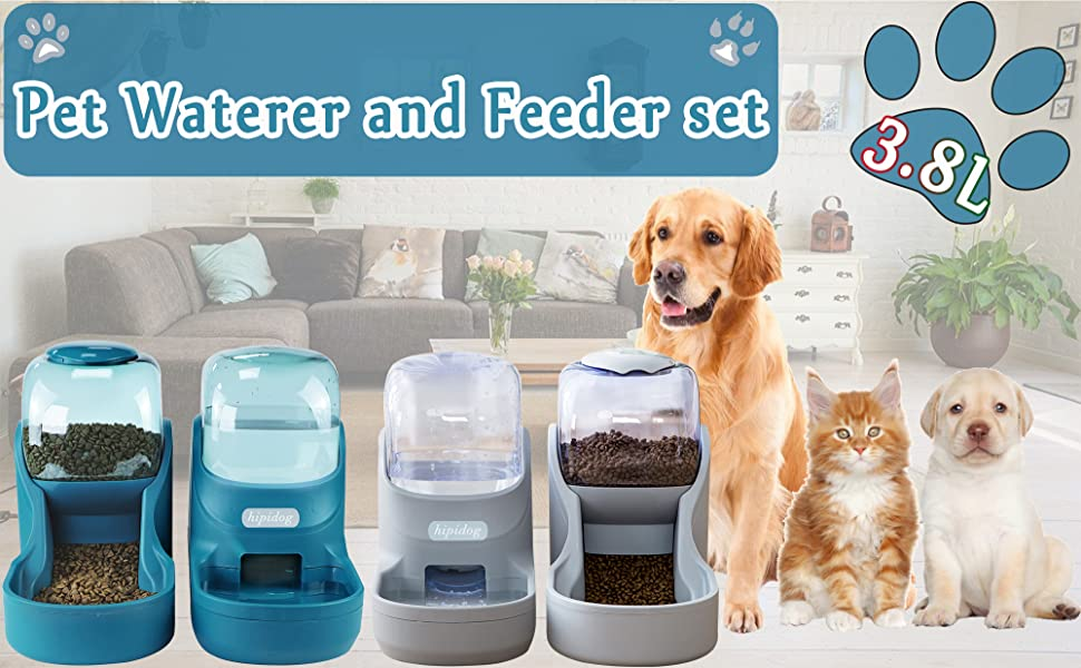 Pet waterer and feeder set