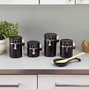 glass storage jars, sugar canister, flour and sugar containers, glass food storage jars,