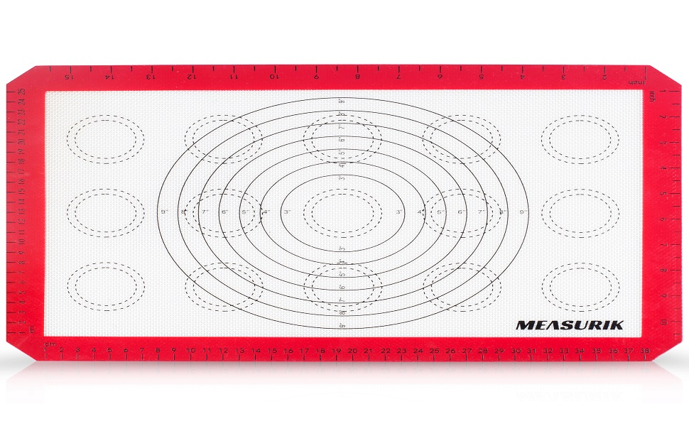 baking mat with concentric circles for cookies macaroons measurements and size charts