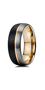 black silver tungsten ring