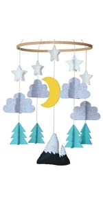 baby crib mobile cute minimalist 3D clouds hang decor baby's room felt safe unique design woodland