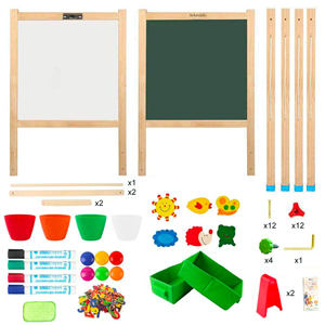 wooden easel - Arkmiido Kids Easel With Paper Roll Double-Sided Whiteboard & Chalkboard Standing Easel With Numbers And Other Accessories For Kids And Toddlers (Green)