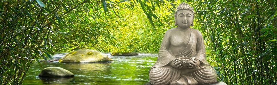Budda Stein-Buddha Feng-Shui Steinfigur Garten-Buddha aus Steinguss