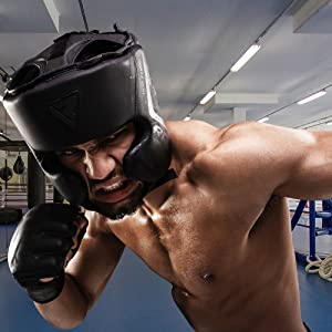 Headguard for Boxing Training - Matte Black Padded Head Guard