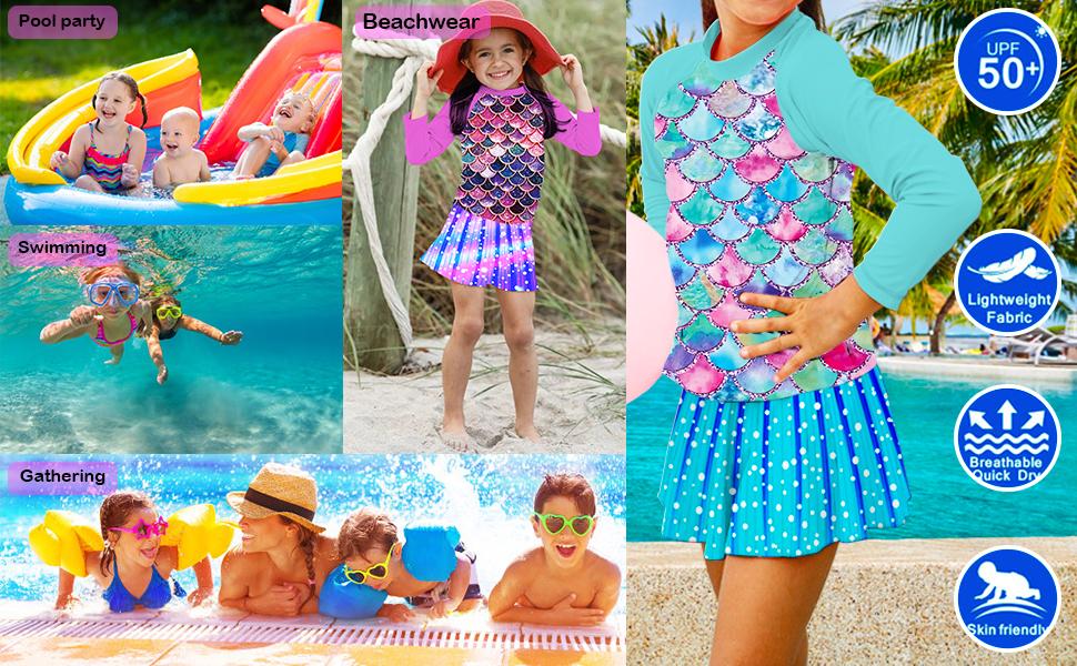 YRCUONE Girls Swimsuit Two Piece Long Sleeve Rushguard Swimwear