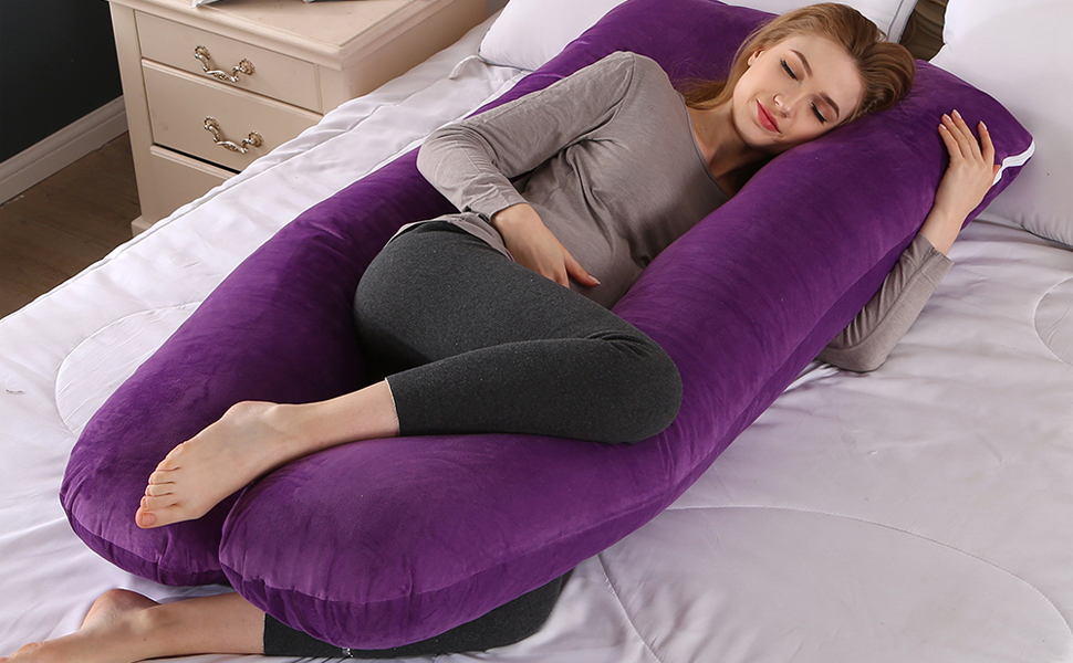 Pregnancy Body Pillow and U-Shape Full Body Pillow(Double Side) with Soft Cover