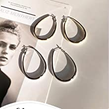 Extra Large Lightweight Two Colors Multicolor And Brown Oval Hoop Dangle 75mm Titanium Earrings Silver 925 Statement Acrylic Charms