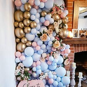 blue balloons, pink balloons,gold balloons