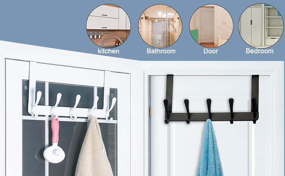 Perchero de pared con 3 ganchos redondos para toalla ropa sombrero resistente al /óxido y al agua f/ácil instalaci/ón bata