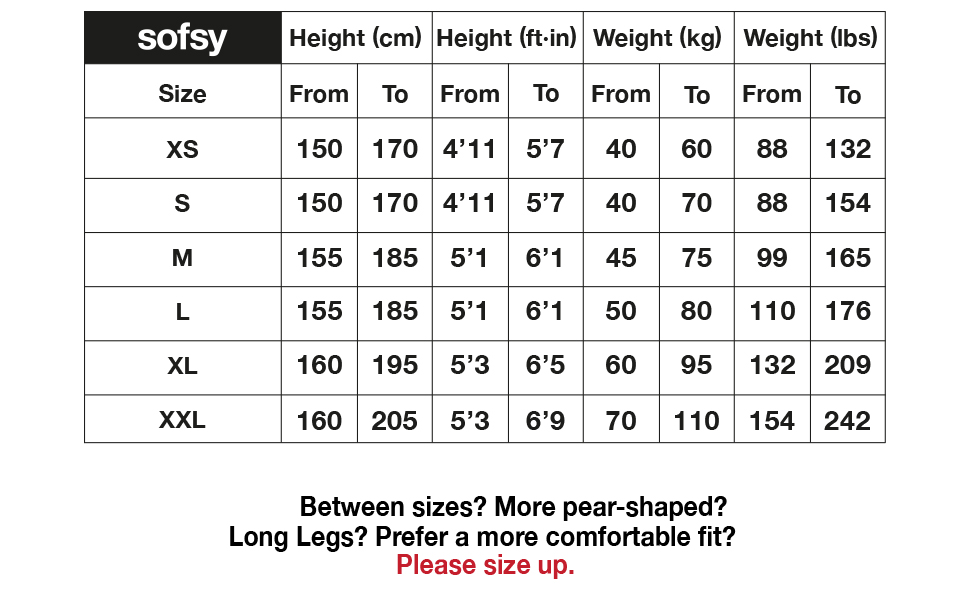 sofsy Size Chart