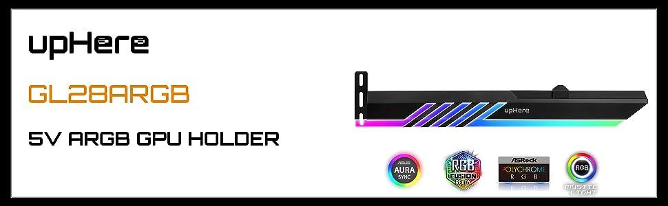 upHere GPU Brace LED Rainbow//Couleur Carte Graphique pour Le Support Carte Vid/éo GL28CF