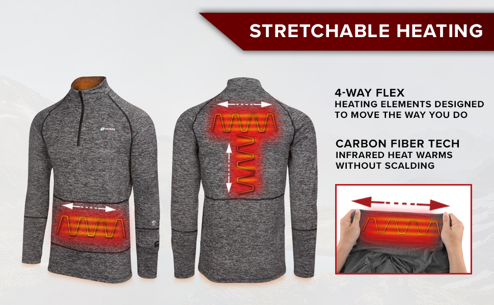 4 way stretch four heating streches all directions to move and flex the way you do