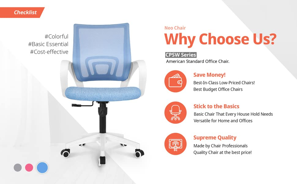 office chair - NEO CHAIR Office Chair Computer Desk Chair Gaming - Ergonomic Mid Back Cushion Lumbar Support With Wheels Comfortable Blue Mesh Racing Seat Adjustable Swivel Rolling Home Executive