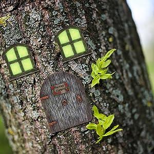 Miniature Fairy Garden Door Windows for Tree