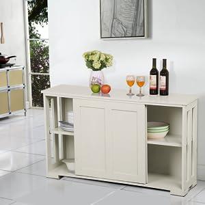 Yaheetech Aparador Buffet Armario de Salón Aparador Mueble con Puerta Corredera 106 x 33 x 63 cm: Amazon.es: Hogar