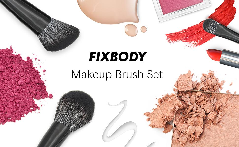 FIXBODY Makeup Brush Sets - 18PCS Wood Handle Soft Synthetic Fiber Hair Kabuki Powder Blush