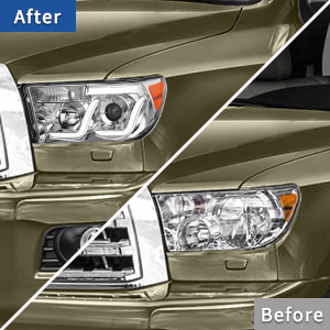 Compatible with 2007-2013 Toyota Tundra   2008-2017 Sequoia LED DRL Tube Projector Headlights