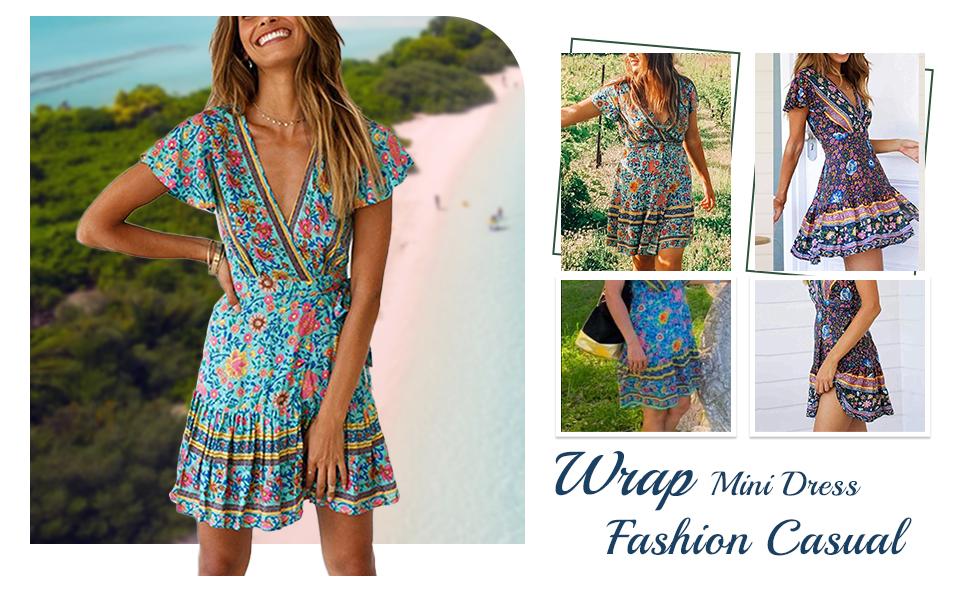Women's Sexy V Neck Floral Print Swing Mini Dress Short Sleeves Summer Beach Dress swing floral