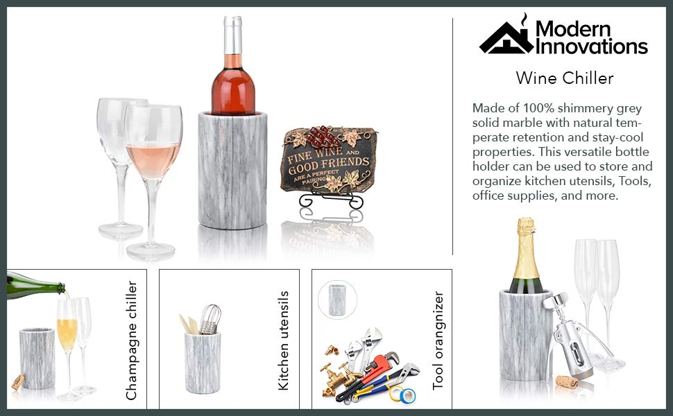 Modern Innovations Wine Chiller Elegant Grey Marble Wine Bottle Cooler Keeps Wine and Champagne Cold