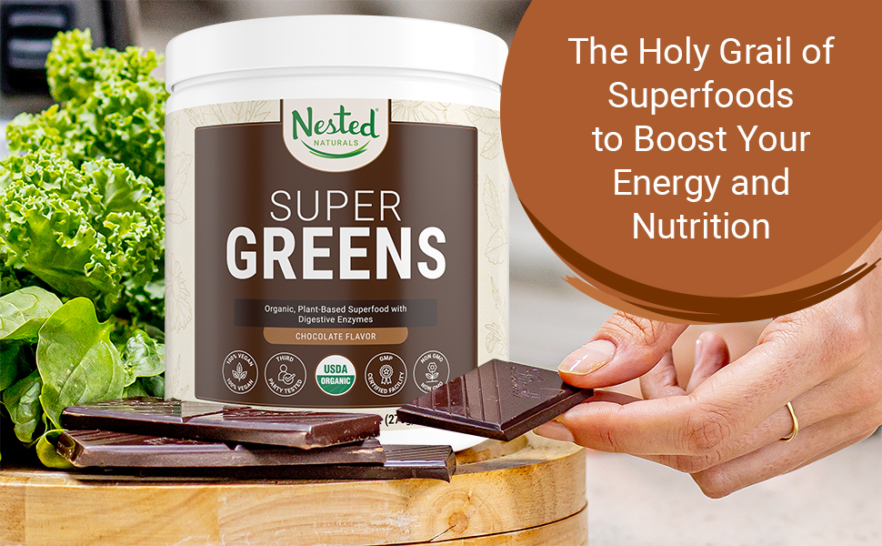 raw athletic daily vegan organic chocolate super green greens vegetable powder supplement superfood