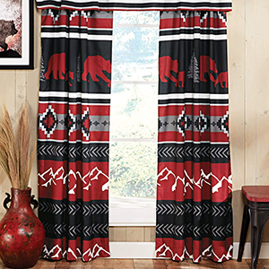 country western drapes hold back cabin lodge wooden lodge  plaid family rustic design
