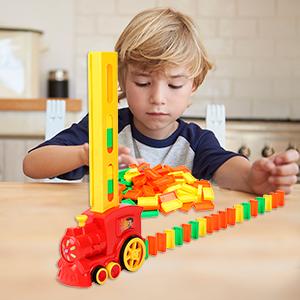 TsingBolo Kids Domino Train Toys Set,Domino Rally,Domino Game,Learning Educational Toys,STEM TOYS