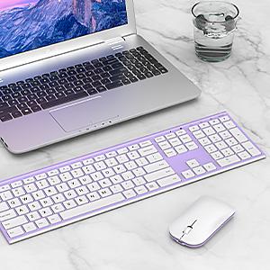 full size ultra slim rechargeable wireless keyboard mouse white purple 12303 (8)