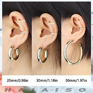 women chunky hoop earrings