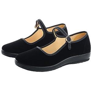 F1rst Rate Womens Velvet Mary Jane Shoes Black Cottton Old Beijing Cloth Flats Yoga