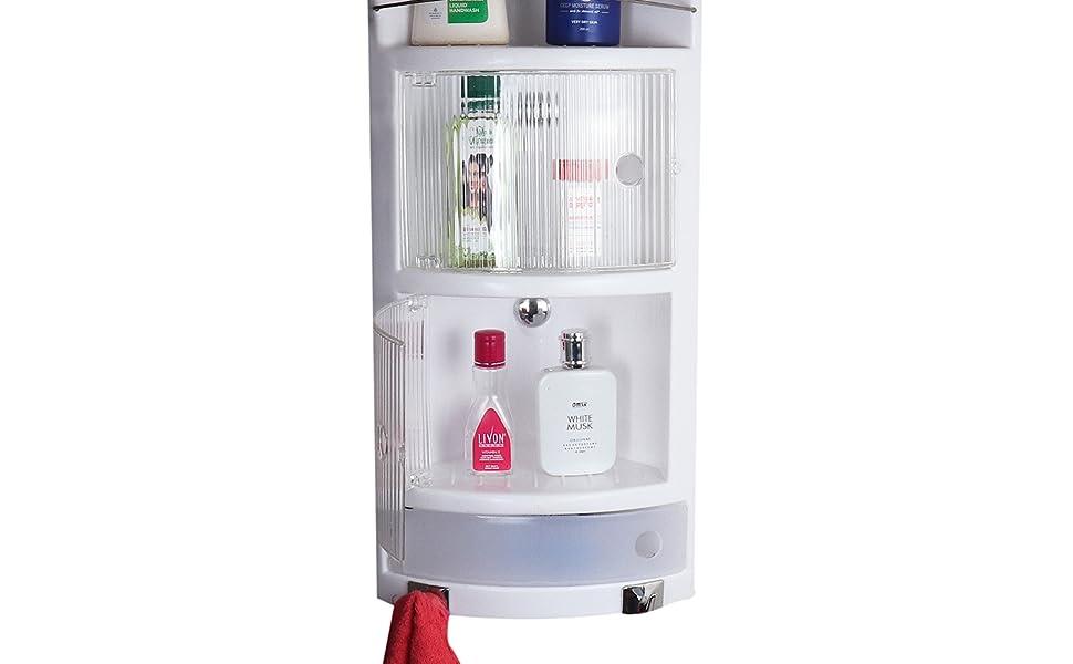 Cipla Plast bathroom cabinet shelf white crystal corner