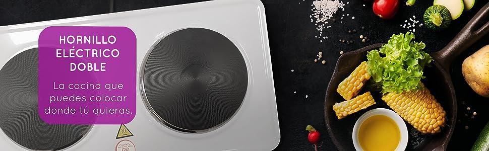 Grunkel - EHP-215 - Hornillo Eléctrico de Doble Placa de 155mm. Cocina Eléctrica Doble portatil ideal para Caravanas, Camping o Cocinas Pequeñas - ...