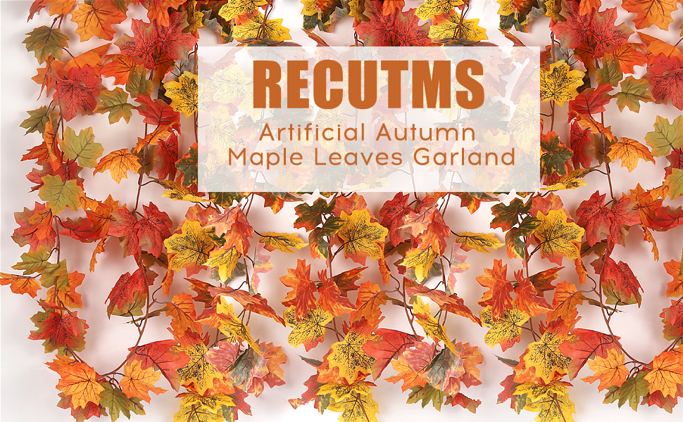 2 Pcs Artificial Autumn Maple Leaves Garland, Fall Hanging Plant for Wedding Thanksgiving Decor