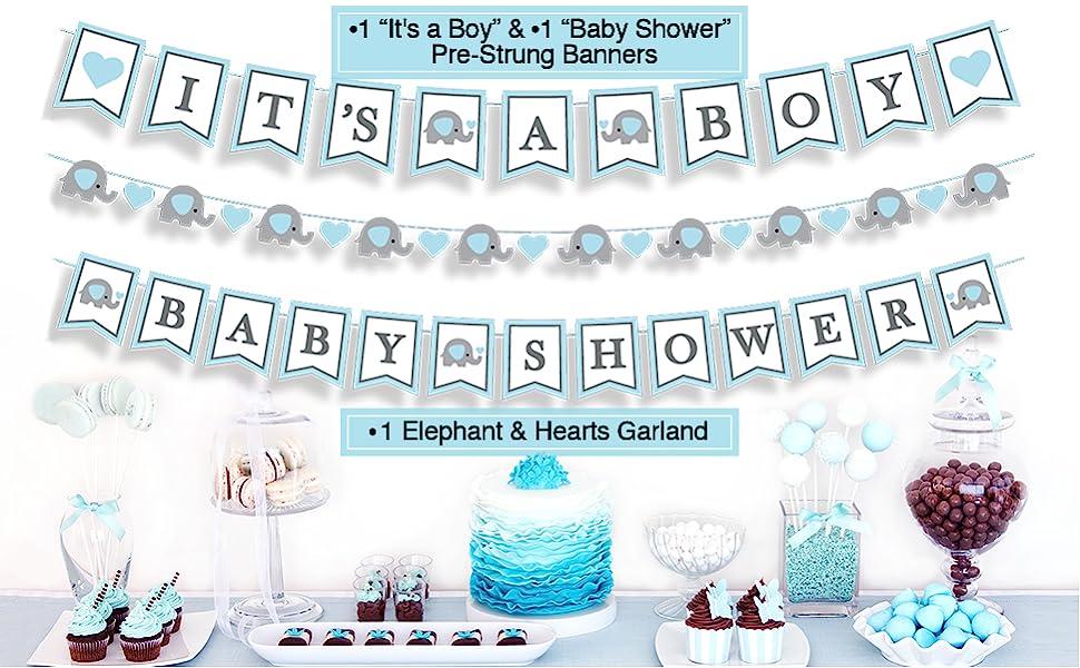 newborn photoshoot maternity prop outdoor inside it's a boy banner elephant garland baby shower blue