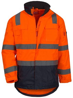 manteau veste haute visibilite parka doudone multipoche travail reflechissant capuche homme