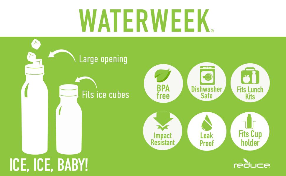 water bottle pack 20 dishwasher safe bottles reusable kids reduce plastic everyday lunch leak proof