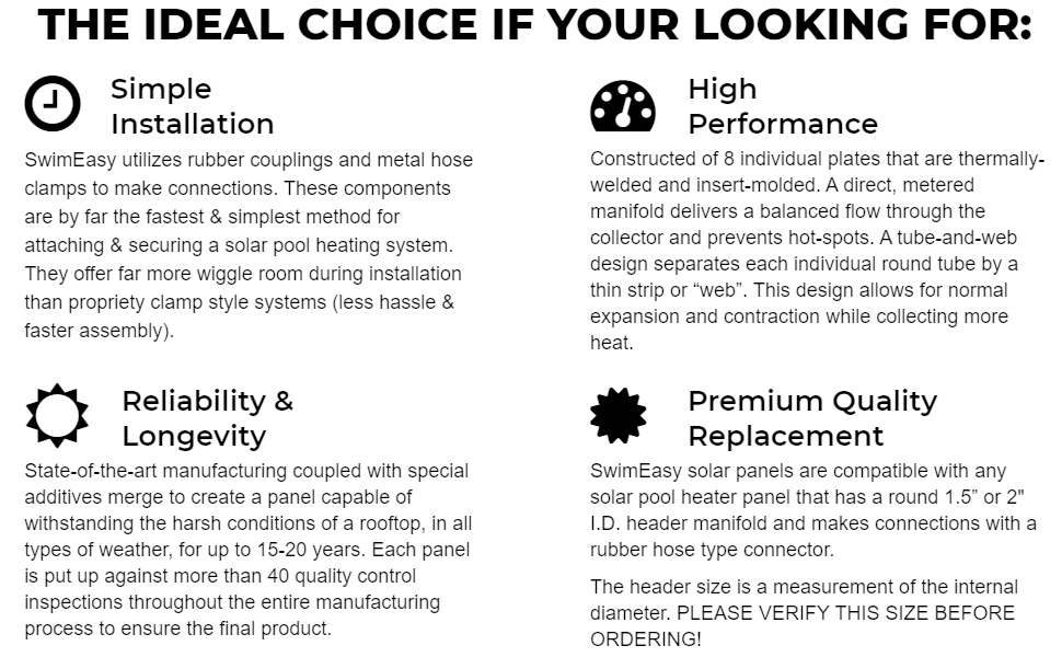 pool solar heater features